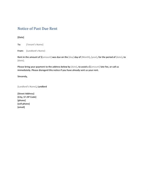 notice of past due rent form letter office templates