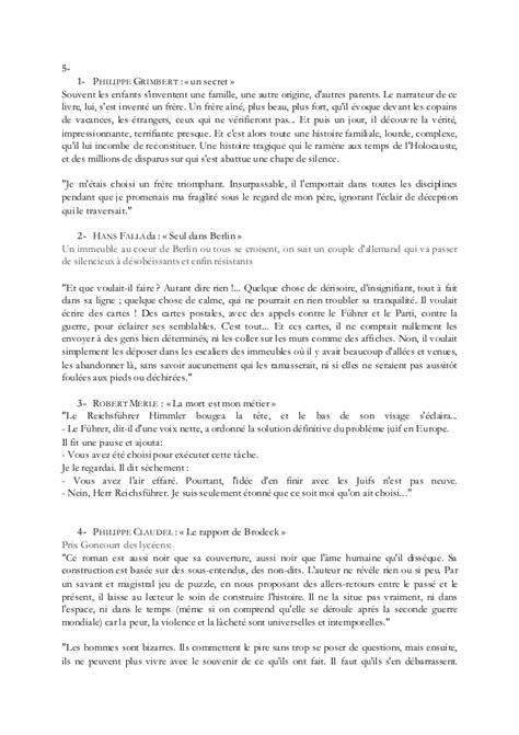 Resume D Un Livre by Consigne De Lecture D Un Livre