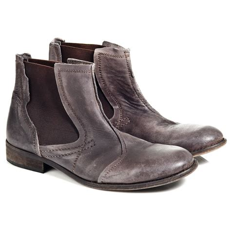 mens ankle boots fly warp grey leather mens ankle boot fly