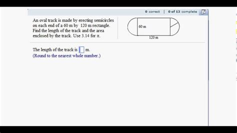 how to m circle application finding area and length of a race track youtube