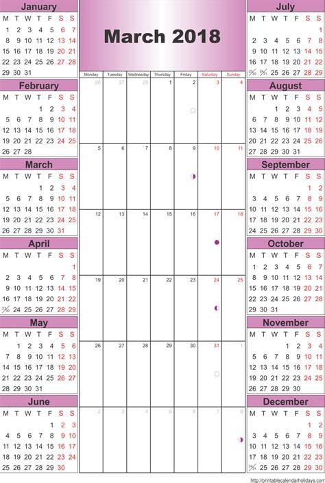 yearly calendar 2018 2018 calendar printable