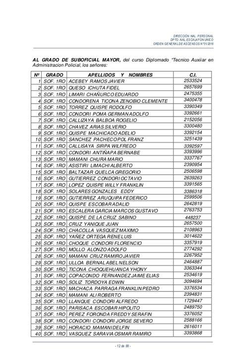 listado completo de ascensos 2016 orden general de ascensos 2016 final