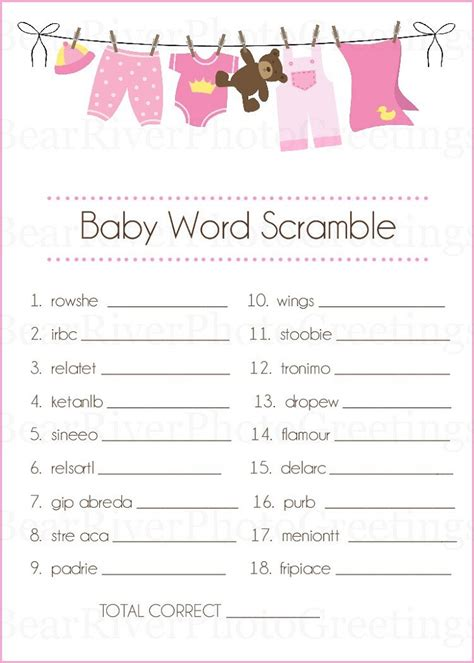Free Printable Baby Shower Word Scramble by Baby Shower Words Scrambles Printable Activity Shelter