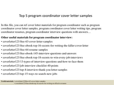 program coordinator cover letter top 5 program coordinator cover letter sles