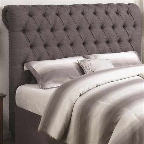 Gray Tufted Headboard King by Coaster King Button Tufted Headboard In Gray