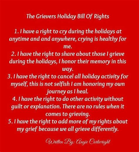 grievers holiday bill  rights  angie cartright holiday survival grieving mother