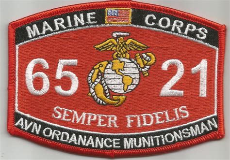 Marine Corps Officer Mos by Usmc Quot Avn Ordanance Munitionsman Quot 6521 Mos Patch