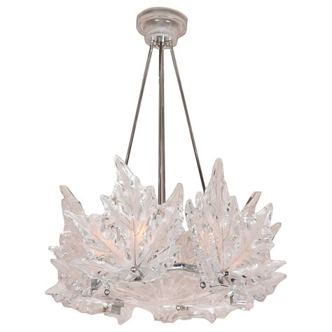 leaf form lalique chandelier 2 available for sale at 1stdibs