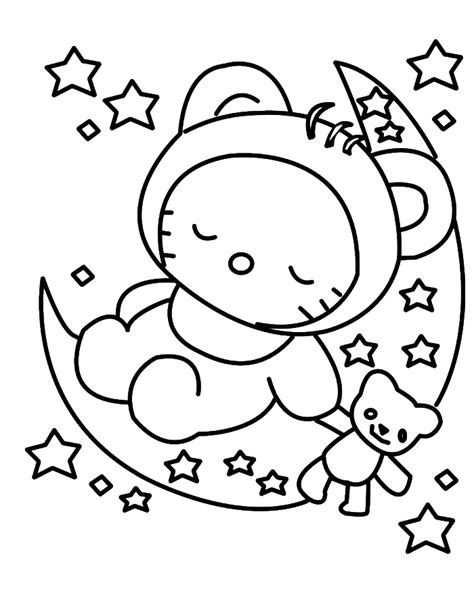 hello kitty sleeping coloring pages hello kitty sleeping in christmas eve coloring for kids