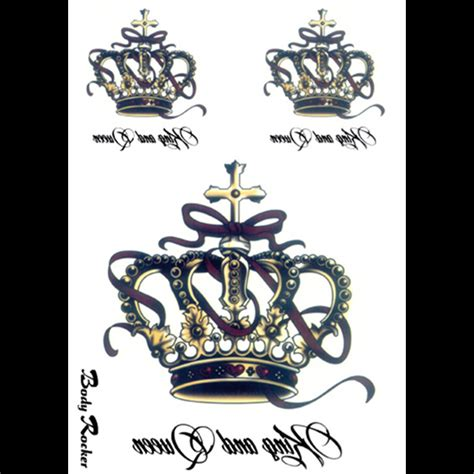 Temporary Wall Stickers king and queen crowns beauty wall fake temporary tattoo