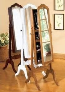 Mirrored Jewellery Cabinet White Free Standing Jewelry Armoire With Mirror Foter