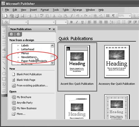 create printable document html publisher 2003 in pictures create a newsletter from a