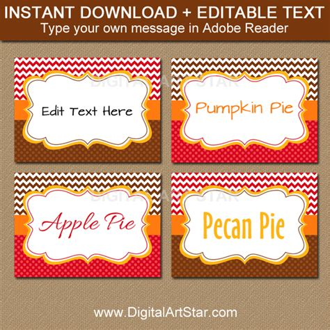 thanksgiving food label cards template printable fall food labels fall place cards digital