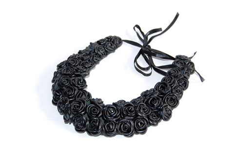 Handmade Leather Necklace - handmade leather necklace black leather bib necklace with