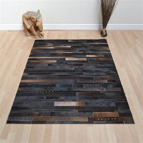 Patchwork Leather Rug - leather patchwork rug in brown mix with studs free uk