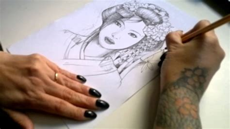 sket tattoo di punggung sketch tattoo geisha youtube