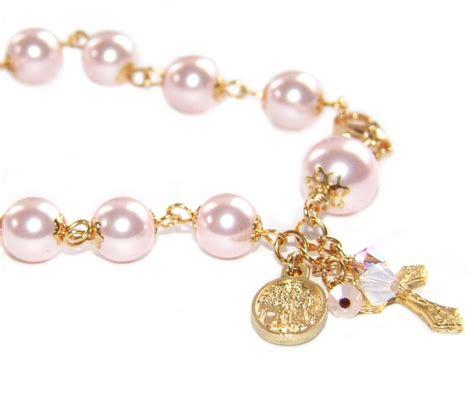 Handmade Gold Bracelet - pink pearl gold rosary bracelet handmade in nz felt