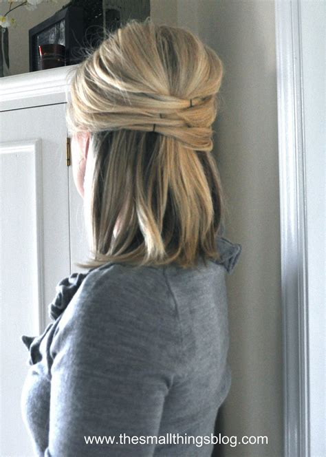 easy half up hairstyles for medium hair elegant half up the small things blog