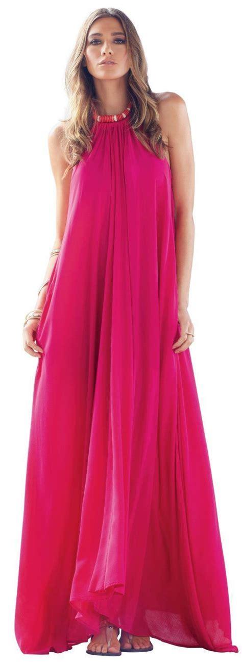 Elan resort 2014 flowy fuchsia maxi dress halter tie neck sexy back $129.00   Maxis, Halston