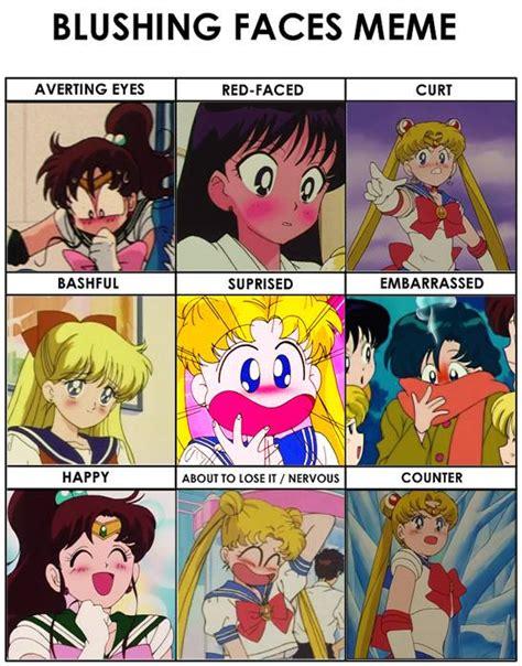 Sailor Moon Meme - sailor moon blushing faces meme by britishchick09 on