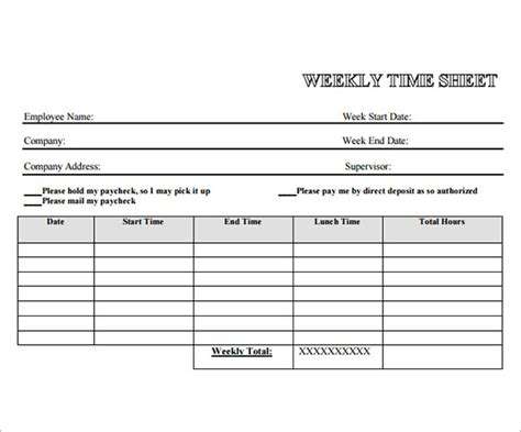 weekly timesheet template employee timesheet sle 13 documents in word excel pdf