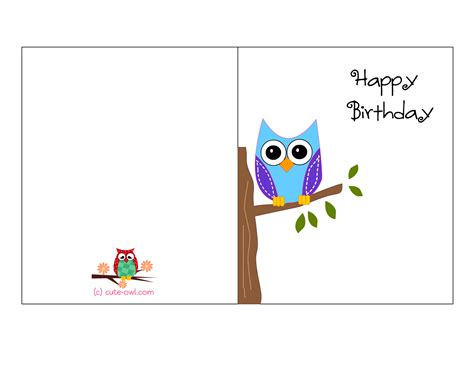 birthday cards to print free printable owl birthday cards