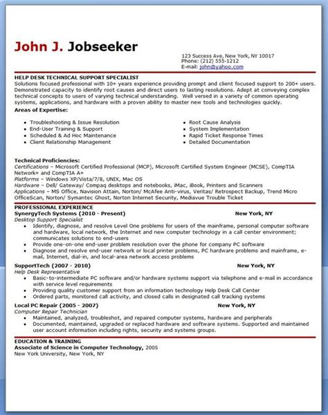 it help desk support resume sle creative resume