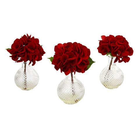 Red Flower Vase Rose Bush Silk Flower Arrangement With Vase Red Walmart Com