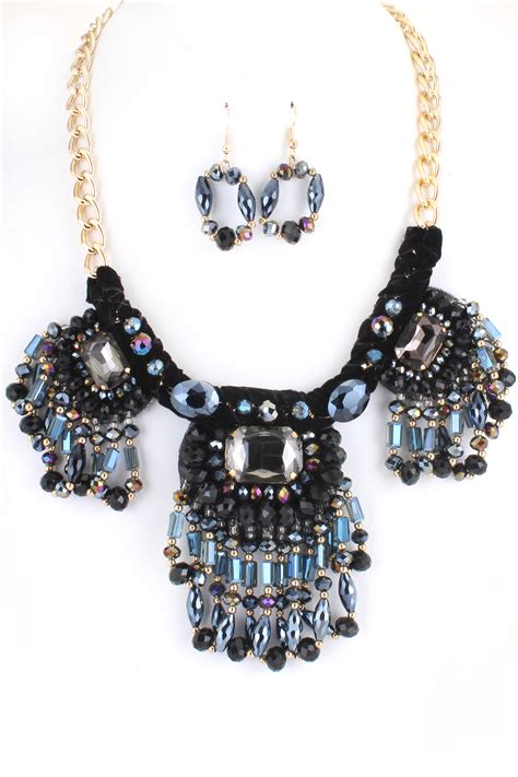 bead set glass and bead fringe necklace set necklaces