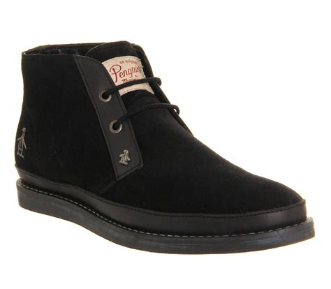 mens original penguin lodge chukka boots black suede boots