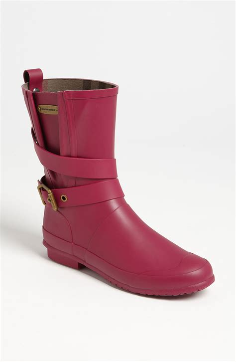 burberry boots for burberry buckled boot in pink fuschia lyst