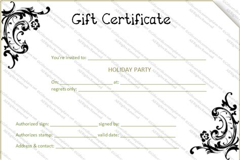 black flower gift certificate template gift certificates
