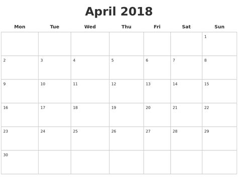 free printable blank calendar pages april 2018 blank calendar pages