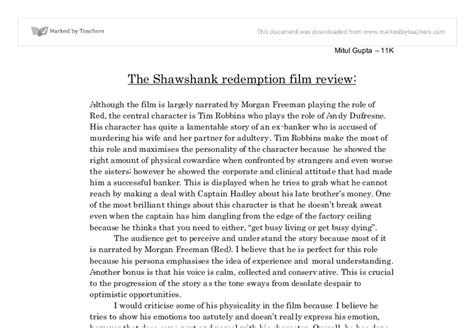 Shawshank Redemption Essay Techniques by The Shawshank Redemption Review Gcse Marked By Teachers