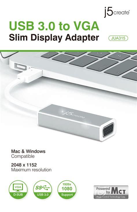 J5create Vga Slim Display Adapter Usb3 0 Jua315 j5create jua315 usb 3 0 to vga slim adapter computer