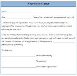 letter template for appreciation format of appreciation