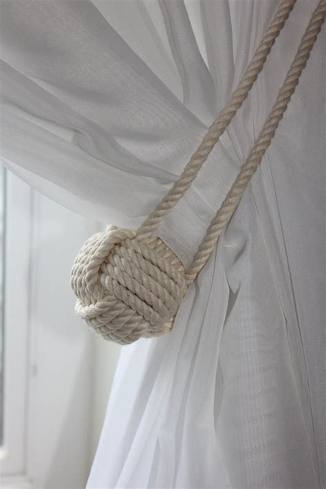 drapery tie back nautical rope curtain tie back shabby cottage beach house
