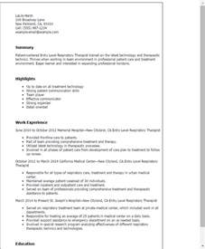 Entry Level Respiratory Therapist Resume professional entry level respiratory therapist templates to showcase your talent myperfectresume
