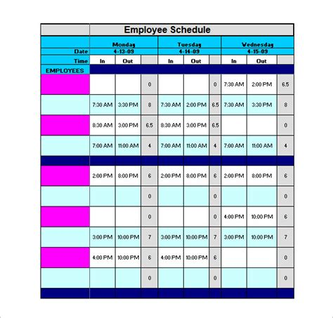 Staff Schedule Template 6 Free Sle Exle Format Download Free Premium Templates Free Staff Schedule Template