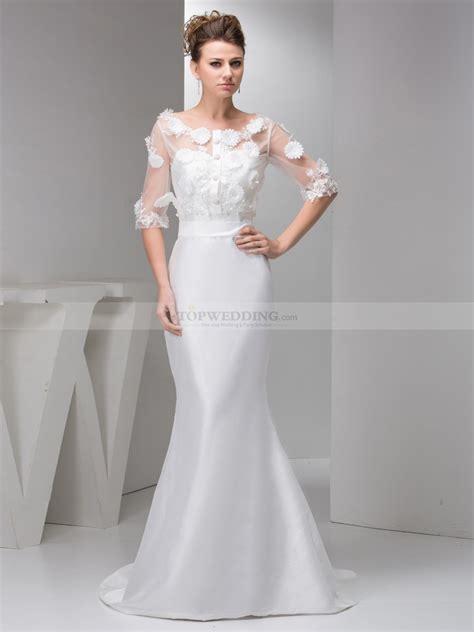 wedding dress with orina mermaid taffeta wedding gown with half sleeve
