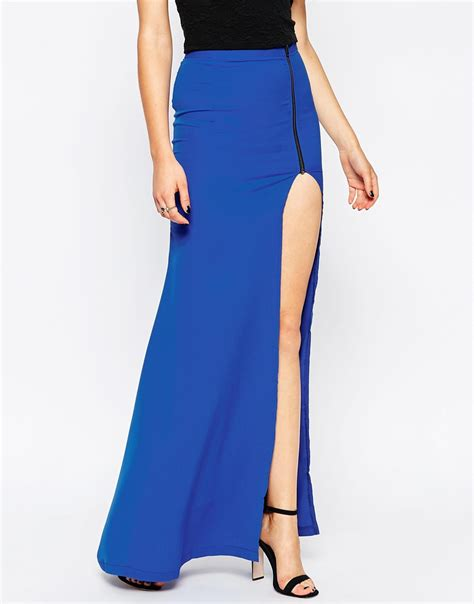 millie mackintosh maxi skirt with thigh split in blue lyst