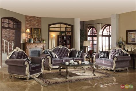 Tufted Living Room Furniture by Luxurious Tufted Gray Velvet Platinum Living Room Furniture Set