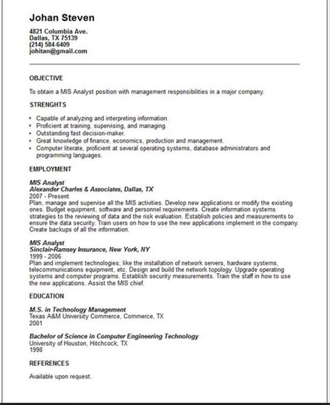 information systems analyst resume