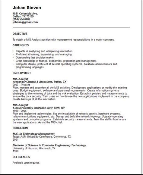 Sample Resume Format: February 2016