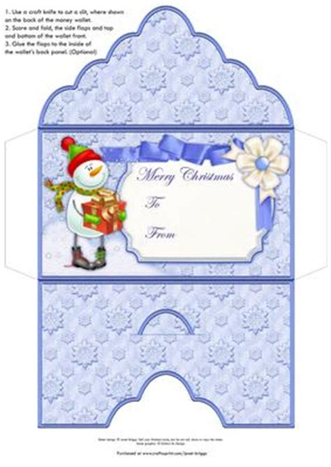 Money Card Holder Template Free by Money Wallet Envelope Snowman Gift Cup382849