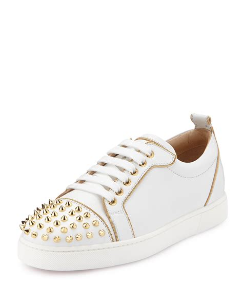 Christian Louboutin White Sneakers by Christian Louboutin Spiked Leather Low Top Sneaker In White Lyst