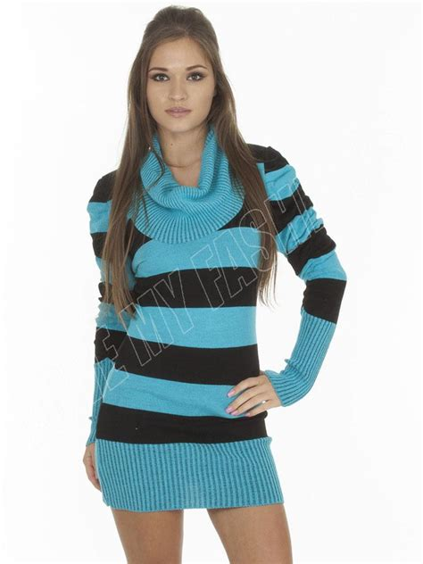 Dress Size S M L new womens sleeve cowl neck stripe knitted tunic