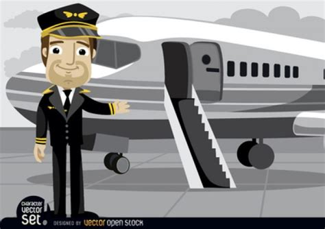 Airline Pilot Background Check Airplane Pilot With Plane Vector Free