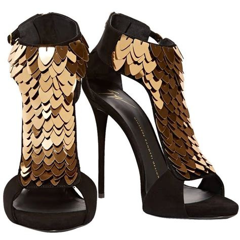 black gold shoes high heels giuseppe zanotti new black suede gold sequin high heels