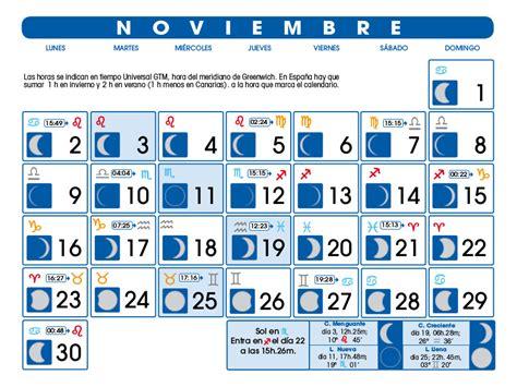 Calendario N Oviembre 2015 Calendario Lunar Noviembre De 2015